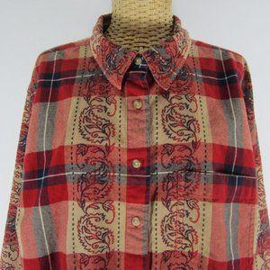c.s.t. Sport Plus 1X Red Plaid Paisley Boho Shirt